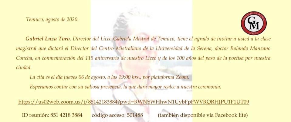 Invitación clase magistral profesor Rolando Manzano